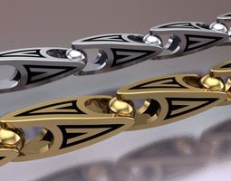 Gold chain 3D print model bracelets