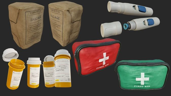 first aid collection pbr 3d model low-poly max obj mtl 3ds fbx dae 1