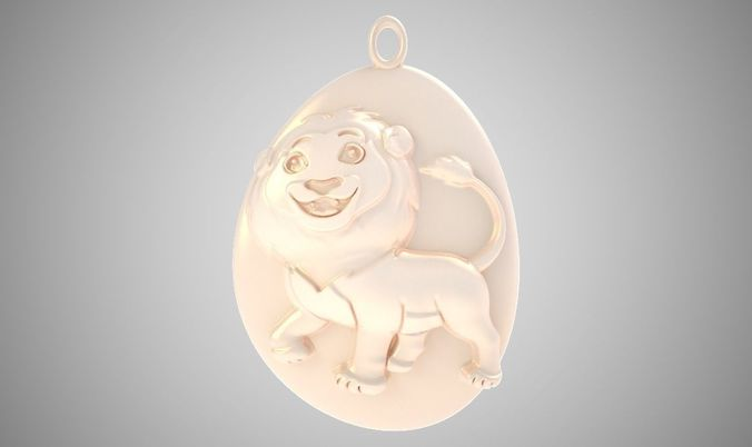 rock lion necklace 3d model obj mtl stl 3mf 1