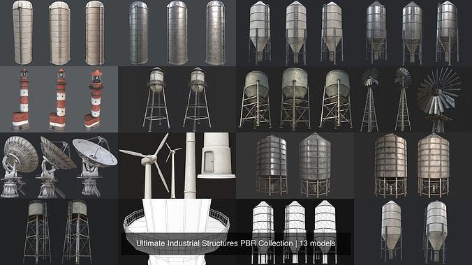 ultimate industrial structures pbr collection 3d model max obj mtl 3ds fbx dae tga 1