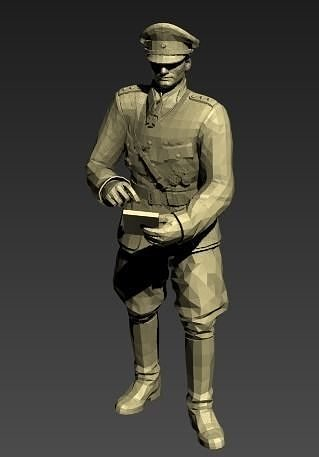german officer wwii 3d model stl 1