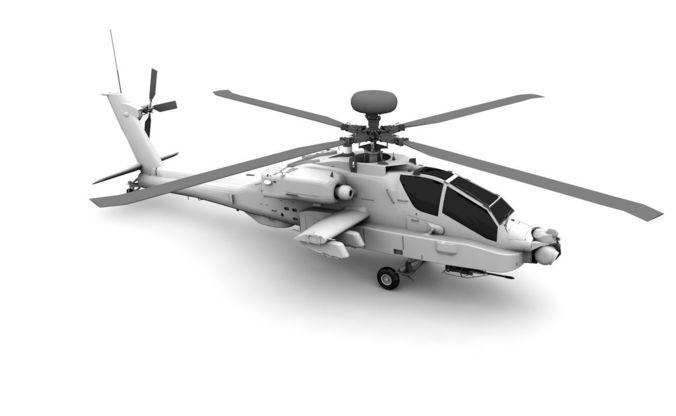 ah-64d apache helicopter 3d model low-poly obj mtl 3ds fbx c4d dae 1