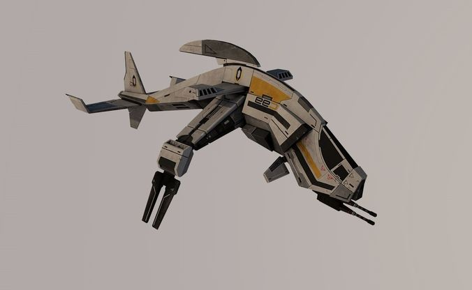spaceship 3d model low-poly rigged obj mtl 3ds fbx c4d dae 1