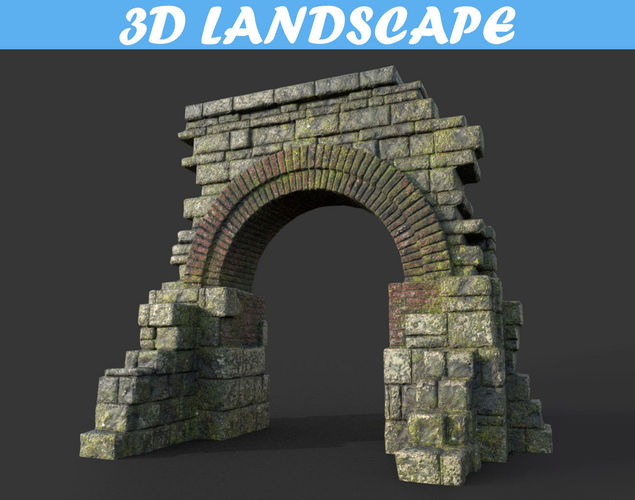 low poly mossy ruin temple gate 01 181119 3d model low-poly max obj mtl 3ds fbx dae 1
