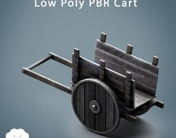 3D asset PBR Low Poly Medieval Wooden Cart