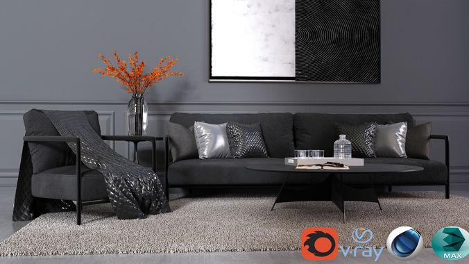 modern living room vol4 3d model max fbx c4d 1