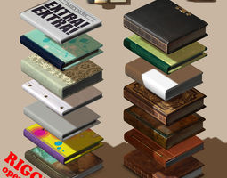 3d rigged book collection - 14 unique books