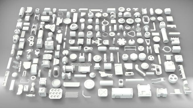 hard surface sci-fi industrial kitbash v-2 3d model low-poly max obj mtl 3ds fbx blend 1
