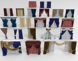 Curtains - 21 pieces 3D furniture