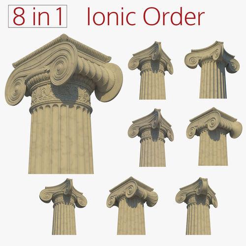 ionic column collection 3d model obj mtl fbx lxo lxl 1