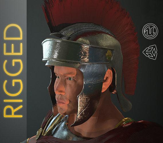 roman soldier rigged 3d model low-poly rigged max obj mtl fbx ma mb tga mel 1