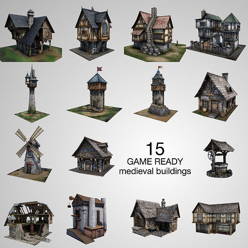 15 medieval buildings model pack 3d model low-poly fbx tga unitypackage prefab 1