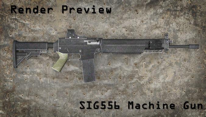 sig 556 machine gun 3d model max obj mtl fbx tga 1