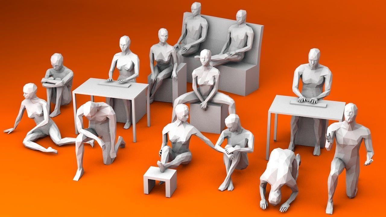 10 Sitting and 3 Kneeing People MInimalist