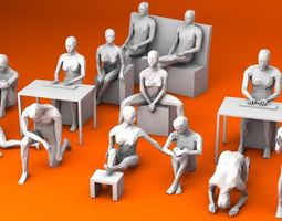 10 Sitting and 3 Kneeing People MInimalist 3D asset