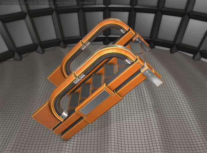 sci-fi stairs - 2 - orange version 3d model obj mtl 3ds fbx dxf stl blend 1