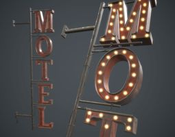 3D asset Old Metal Motel Sign PBR Game Ready