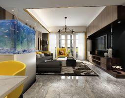 Living-Dining Room interior scene 3D