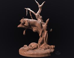 panther on a tree for 3d printing