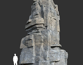 3D model Low poly Blocky Cliff Rock Gray color 06