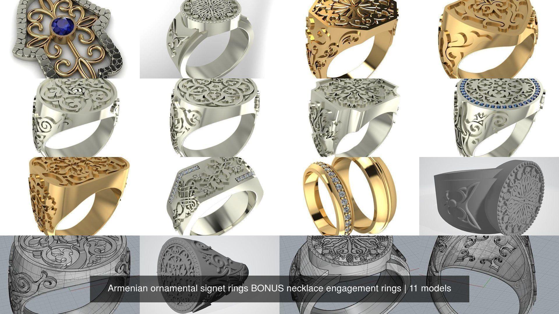 Armenian ornamental signet rings BONUS necklace engagement rings