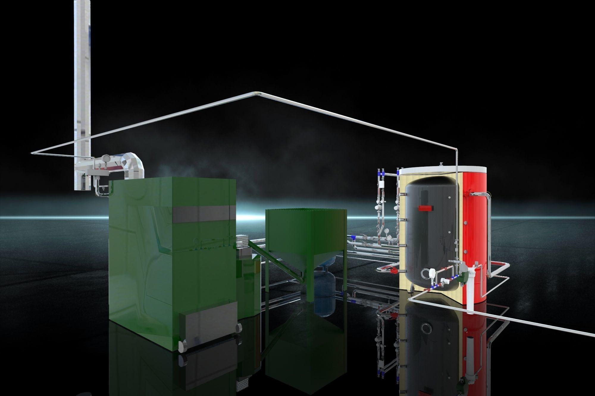 Industrial Boiler Room on wood pellets