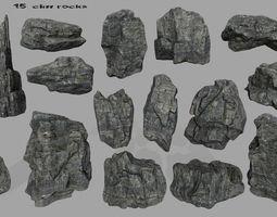 3D asset cliff rocks set 1