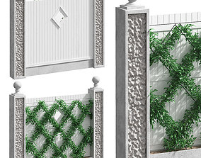 Fence with landscaping or hedge 3D model