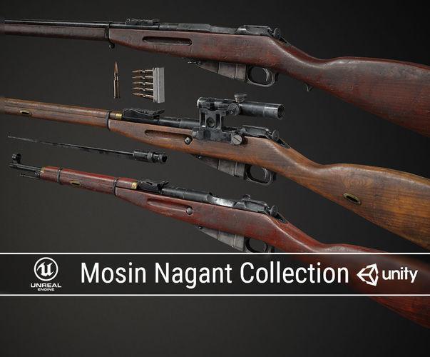 pbr soviet mosin nagant collection 3d model obj mtl fbx ma mb dae 1