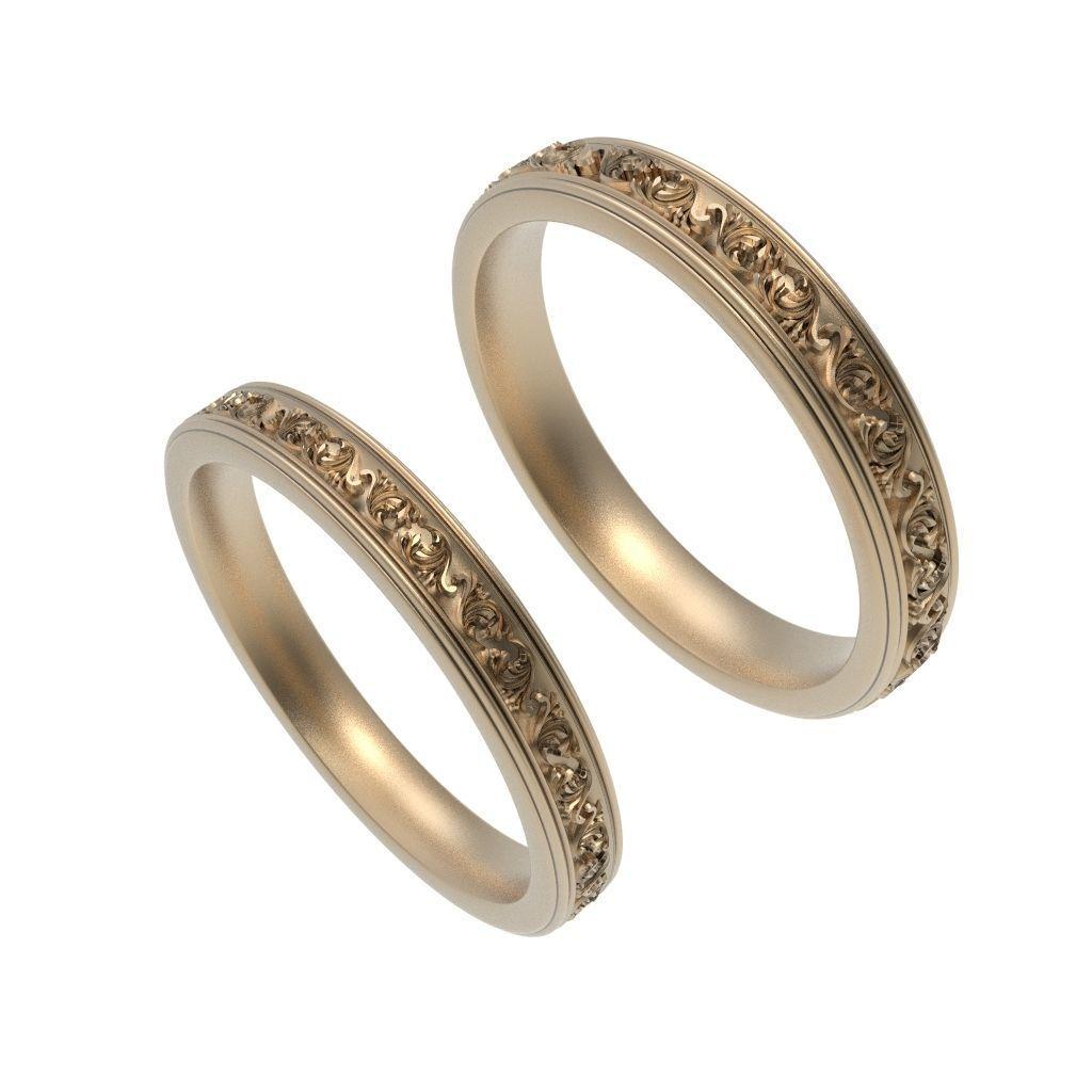 Gold Wedding Rings Men Women 3d Print Model Cgtrader