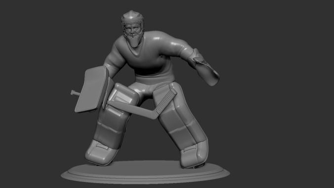 hockey player goalie collectible figure statue 3d print pose 05 3d model obj mtl stl 1