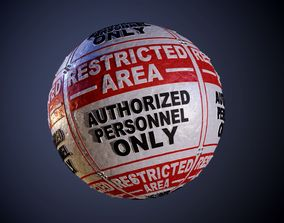 Metal Restricted Area Warning Danger Sign Seamless PBR 3D