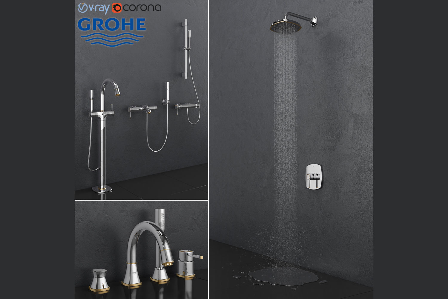 Bath And Shower Faucets Grohe Grandera Gold Set 3d Model