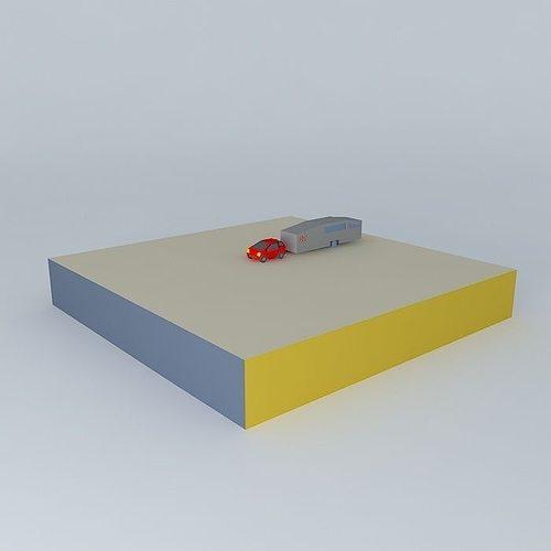 sketchyphysics  smart car pulling a 5th wheel 3d model max obj mtl 3ds fbx stl dae 1