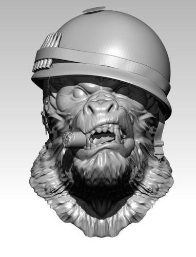 detailed angry warrior monkey soldier cigar 3d model obj mtl stl 1