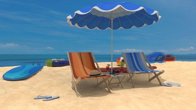 the beach 3d model obj mtl fbx ma mb mel 1