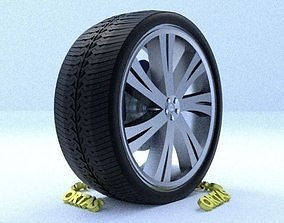 3D model ORTAS CAR RIM 4 GAME READY RIM TIRE AND DISC