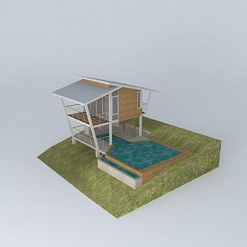 contemporary vacation cottage 3d model max obj mtl 3ds fbx stl dae 1