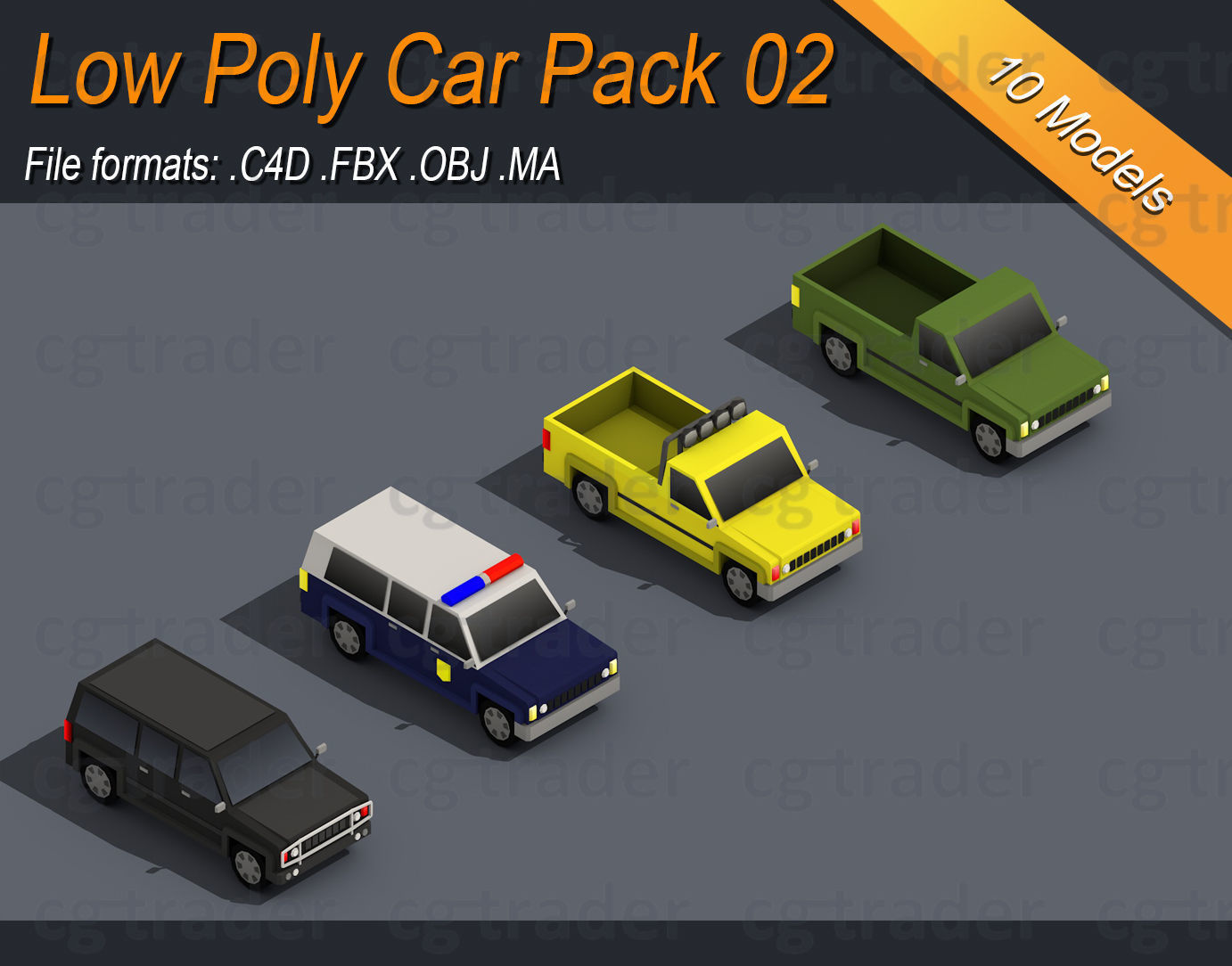 Low Poly Truck Pack 02 Isometric