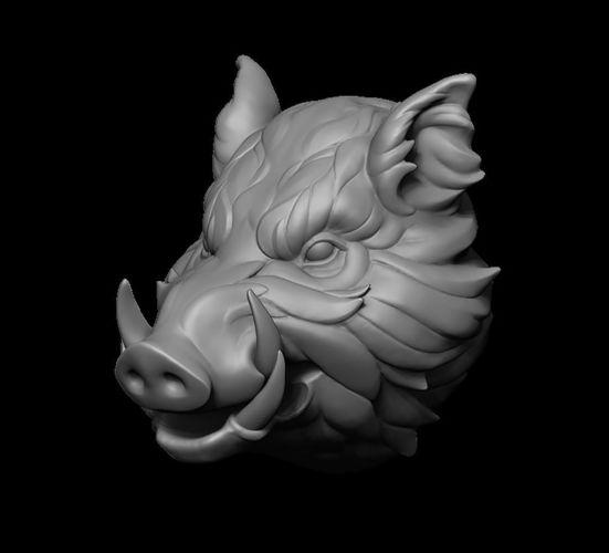 Stylized Wild Boar Head