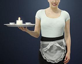 Dominica A Caucasian Female Waitress Walking 3D model 2