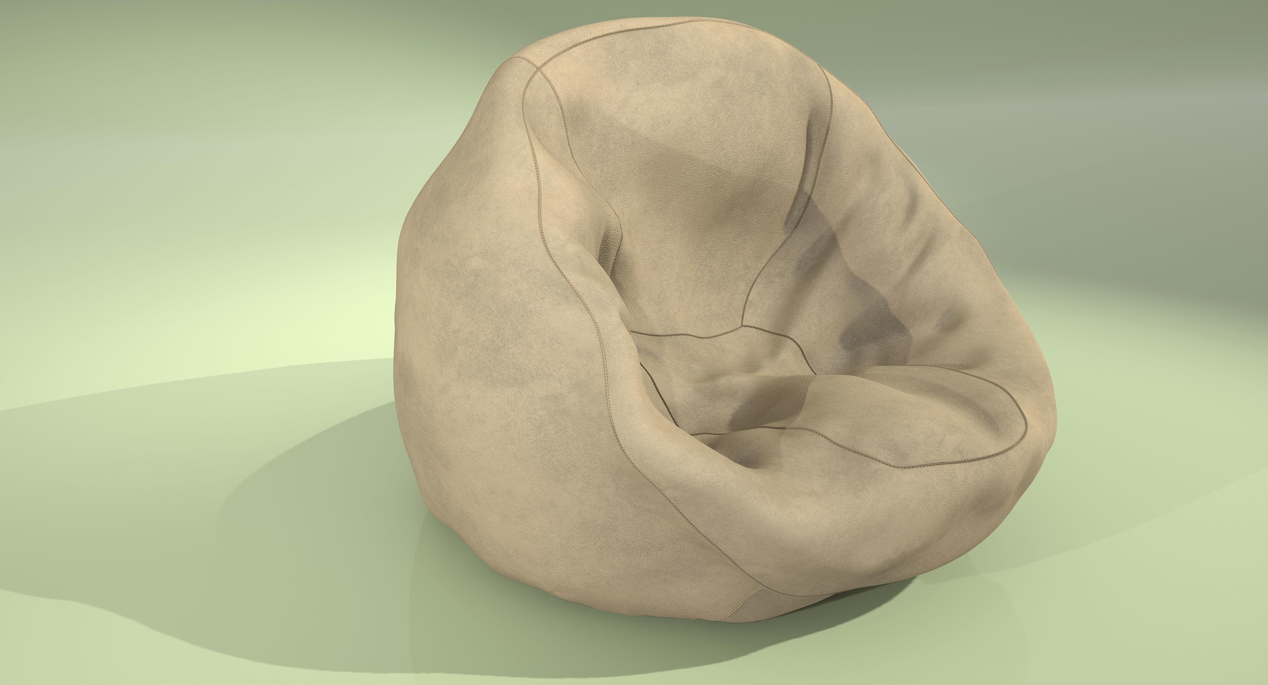 3d Armchair Leather Bean Bag Cgtrader