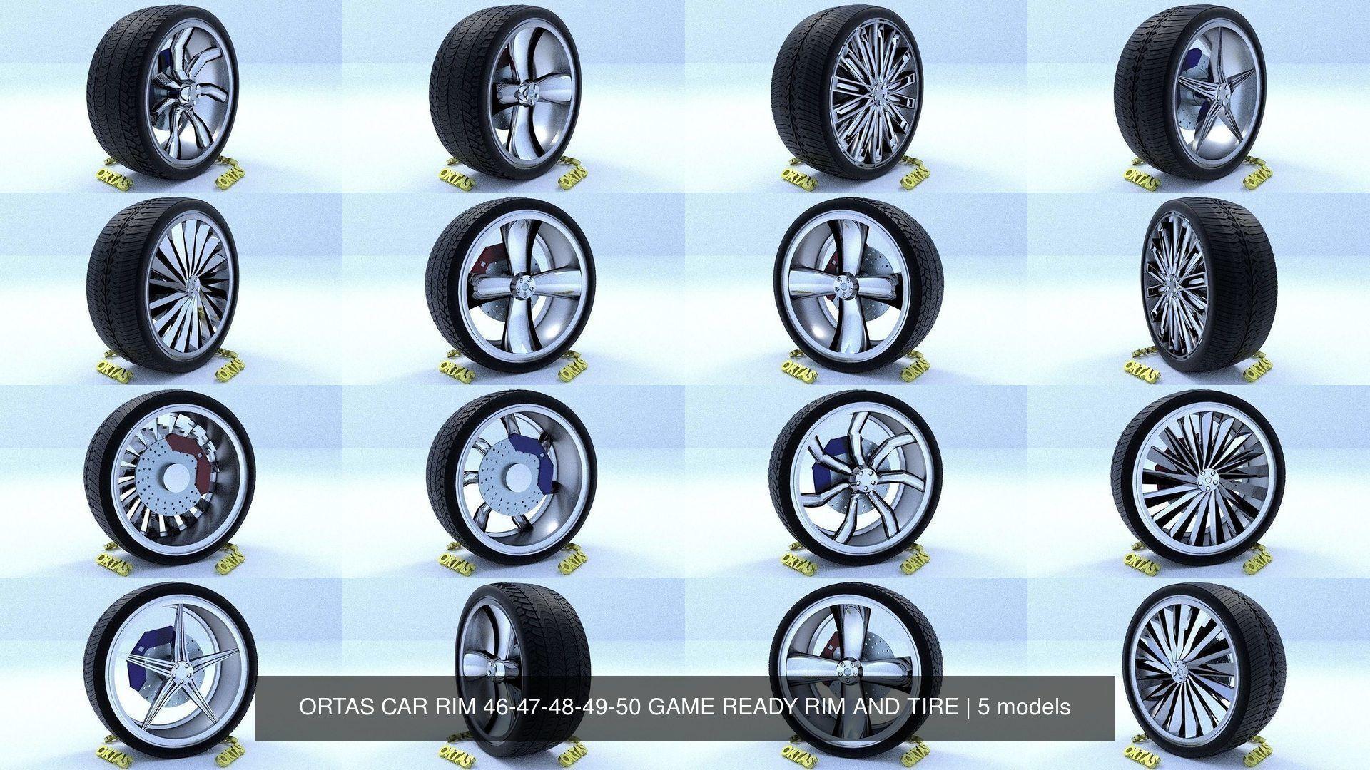 ORTAS CAR RIM 46-47-48-49-50 GAME READY RIM AND TIRE