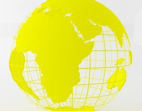 3D model Yellow Earth Globe