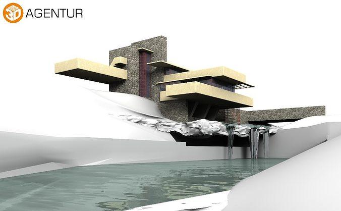 house fallingwater frank lloyd wright 3d model obj mtl 3ds c4d dae skp 1