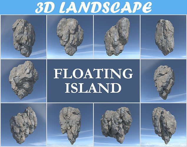 low poly floating island rock pack 181129 3d model max obj mtl 3ds fbx dae 1