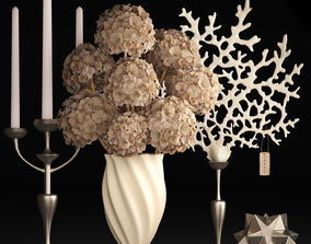Decor with dry flowers 3D model
