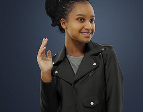 3D Macire An African Woman In A Leather Jacket Standing