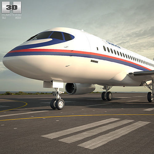 sukhoi superjet 100 3d model max obj mtl 3ds fbx c4d lwo lw lws 1