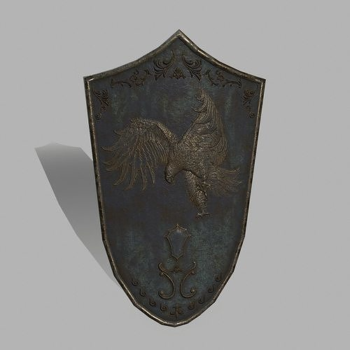 shield  3d model low-poly obj mtl fbx blend 1